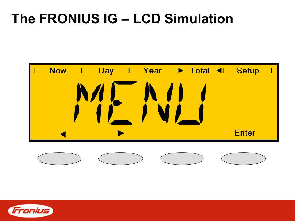 The FRONIUS IG – LCD Simulation NowDayYearSetup Enter Total