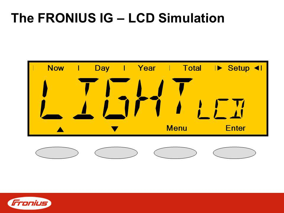 The FRONIUS IG – LCD Simulation NowDayYearSetup MenuEnter Total