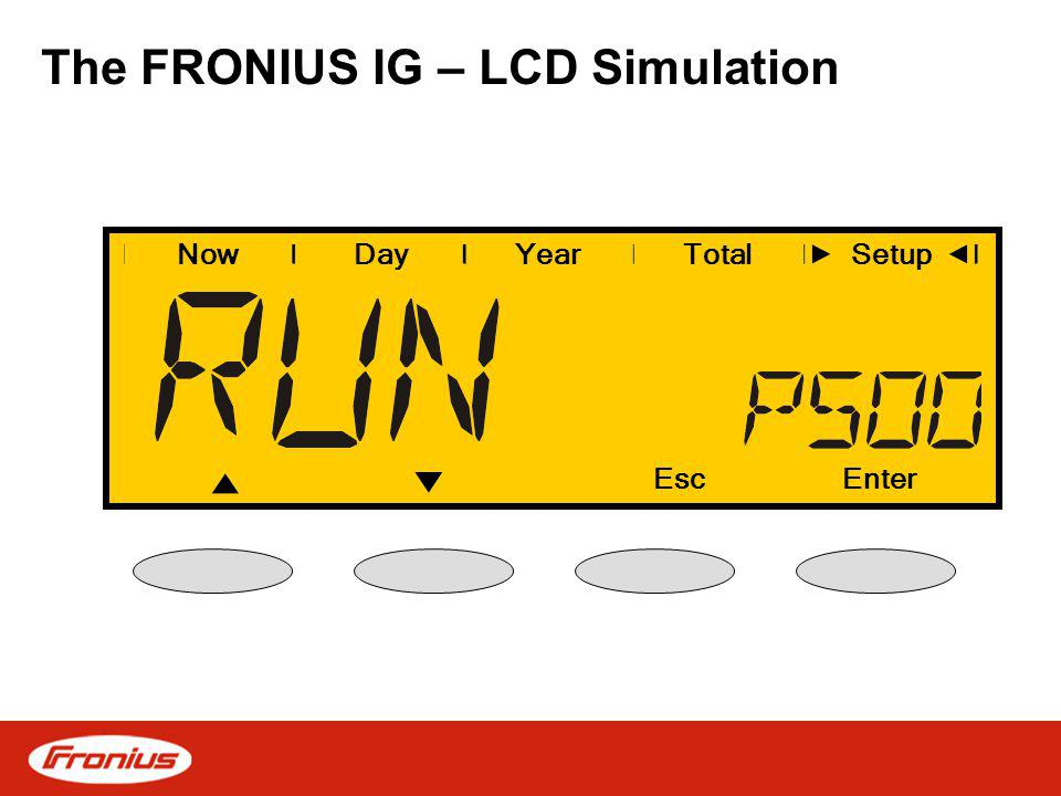 The FRONIUS IG – LCD Simulation NowDayYearSetup EscEnter Total