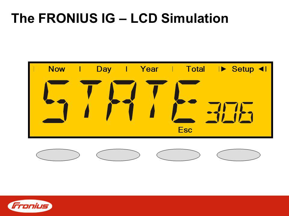 The FRONIUS IG – LCD Simulation NowDayYearSetup Esc Total