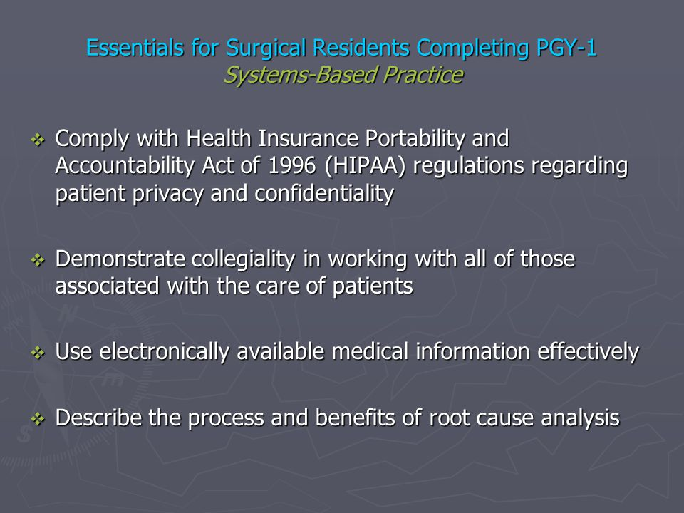 Essentials for Surgical Residents Completing PGY-1 Systems-Based Practice Comply with Health Insurance Portability and Accountability Act of 1996 (HIP