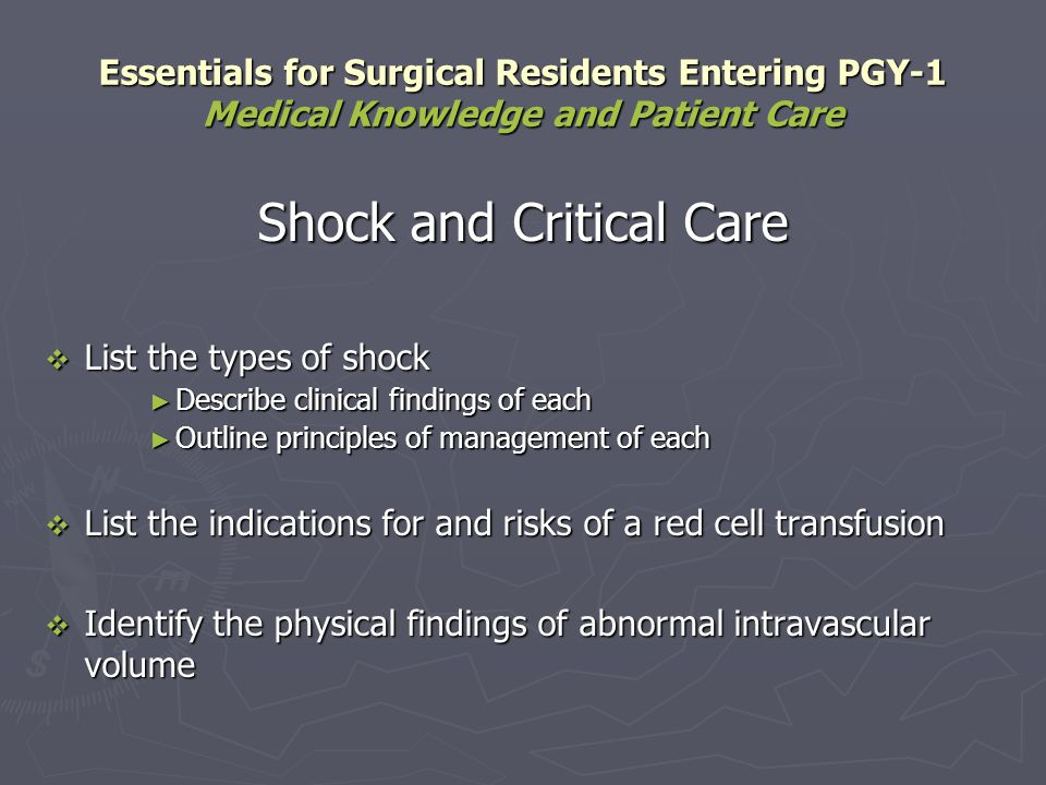 Shock and Critical Care List the types of shock List the types of shock Describe clinical findings of each Describe clinical findings of each Outline