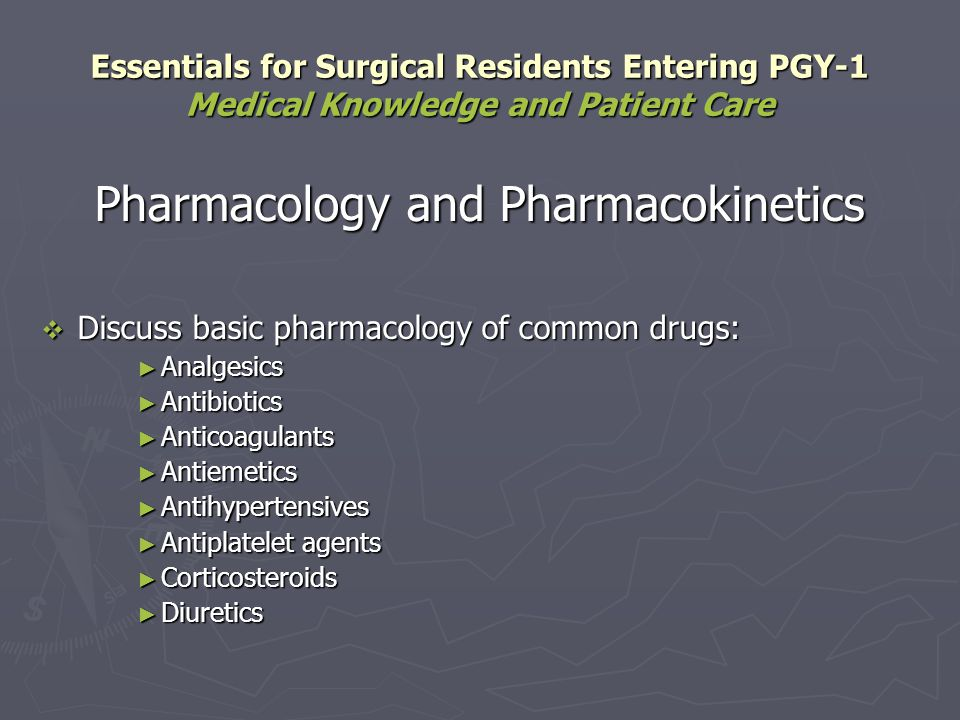 Pharmacology and Pharmacokinetics Discuss basic pharmacology of common drugs: Discuss basic pharmacology of common drugs: Analgesics Analgesics Antibi