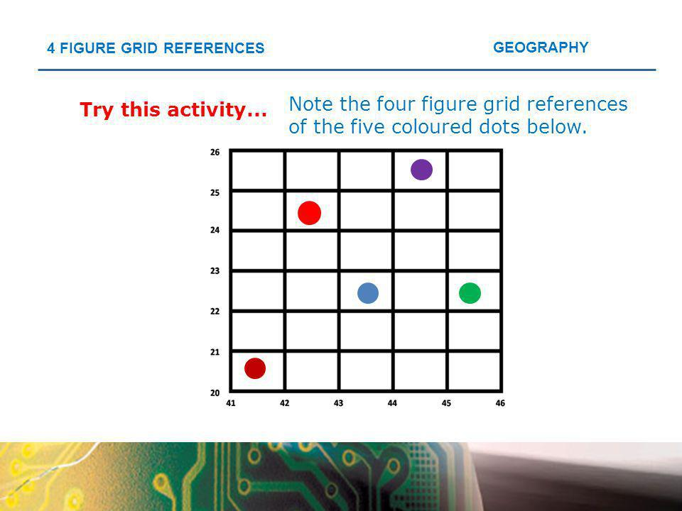 GEOGRAPHY 4 FIGURE GRID REFERENCES Try this activity... Note the four figure grid references of the five coloured dots below.