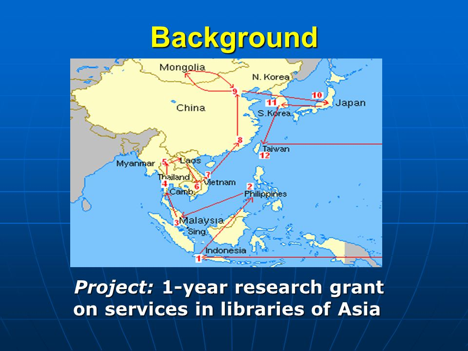 Background Project: 1-year research grant on services in libraries of Asia Project: 1-year research grant on services in libraries of Asia