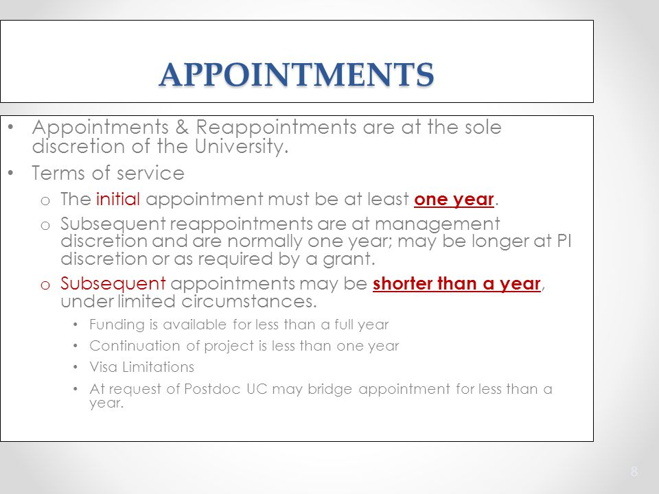 Appointments & Reappointments are at the sole discretion of the University.