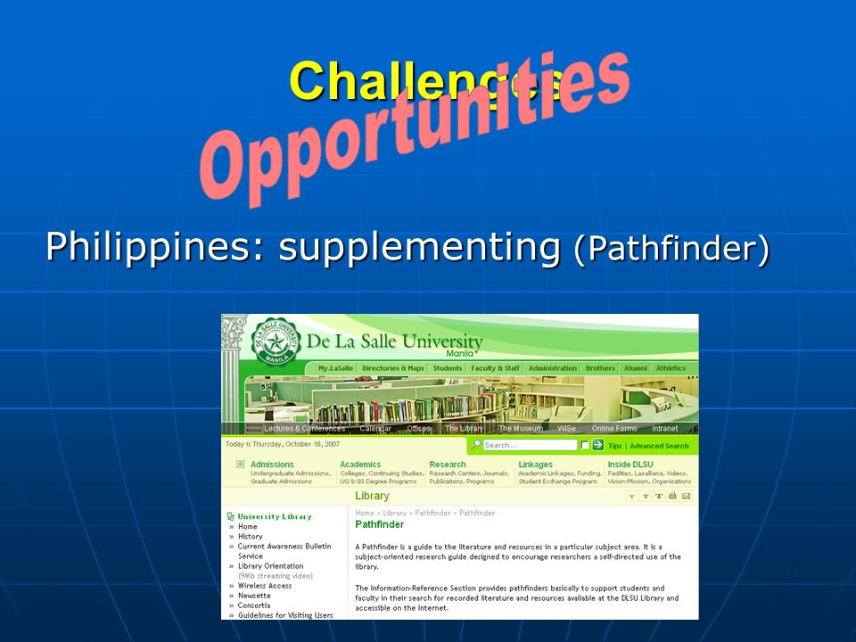 Challenges Philippines: supplementing (Pathfinder)