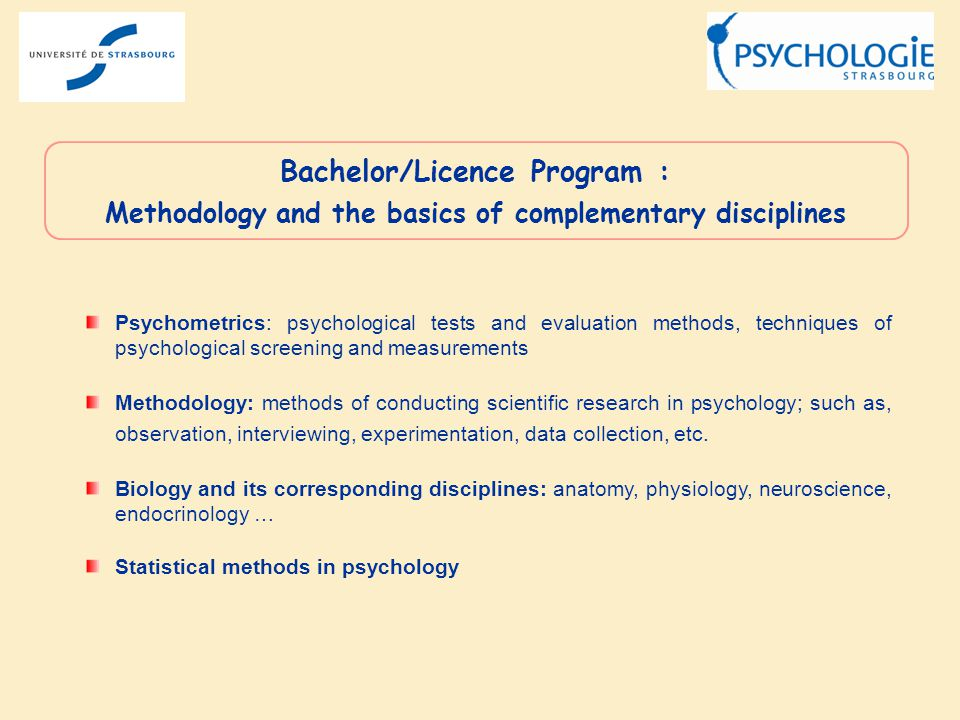 Psychometrics: psychological tests and evaluation methods, techniques of psychological screening and measurements Methodology: methods of conducting s