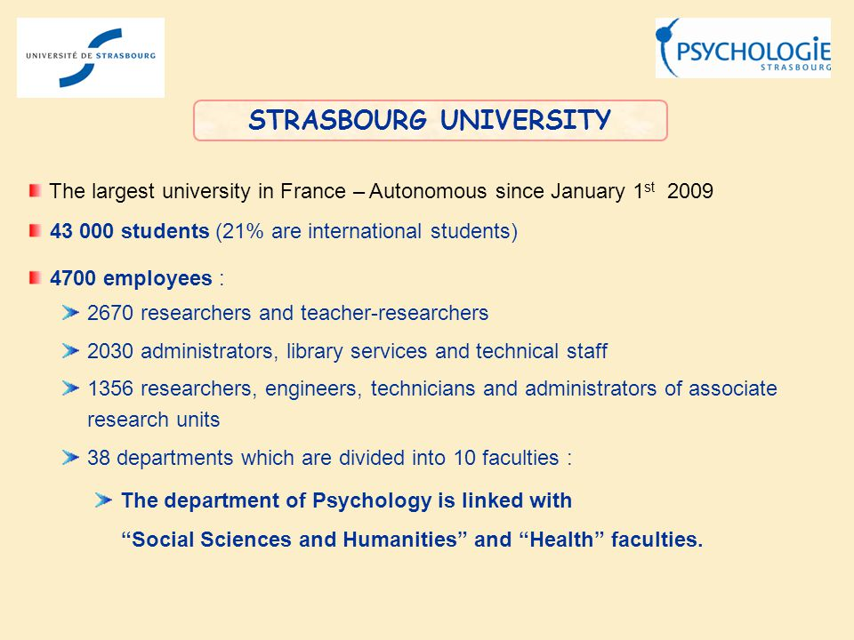 STRASBOURG UNIVERSITY The largest university in France – Autonomous since January 1 st 2009 43 000 students (21% are international students) 4700 employees : 2670 researchers and teacher-researchers 2030 administrators, library services and technical staff 1356 researchers, engineers, technicians and administrators of associate research units 38 departments which are divided into 10 faculties : The department of Psychology is linked with Social Sciences and Humanities and Health faculties.