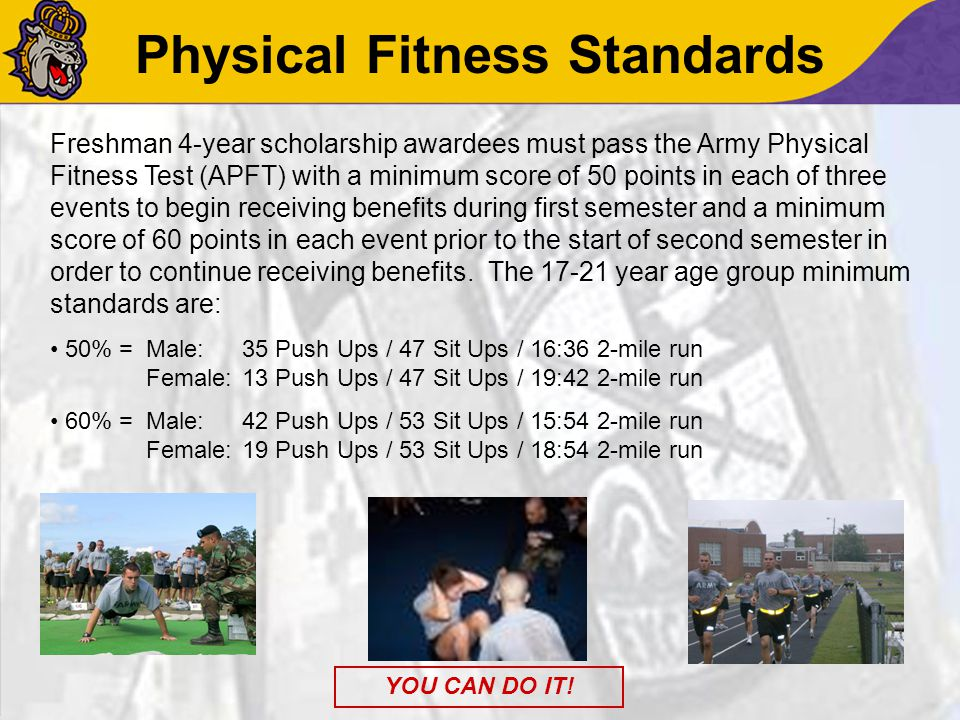 Physical Fitness Standards Freshman 4-year scholarship awardees must pass the Army Physical Fitness Test (APFT) with a minimum score of 50 points in e