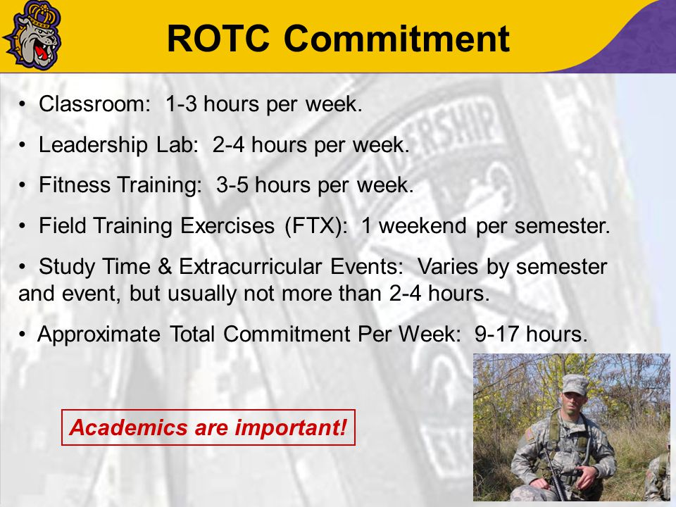 ROTC Commitment Classroom: 1-3 hours per week. Leadership Lab: 2-4 hours per week. Fitness Training: 3-5 hours per week. Field Training Exercises (FTX