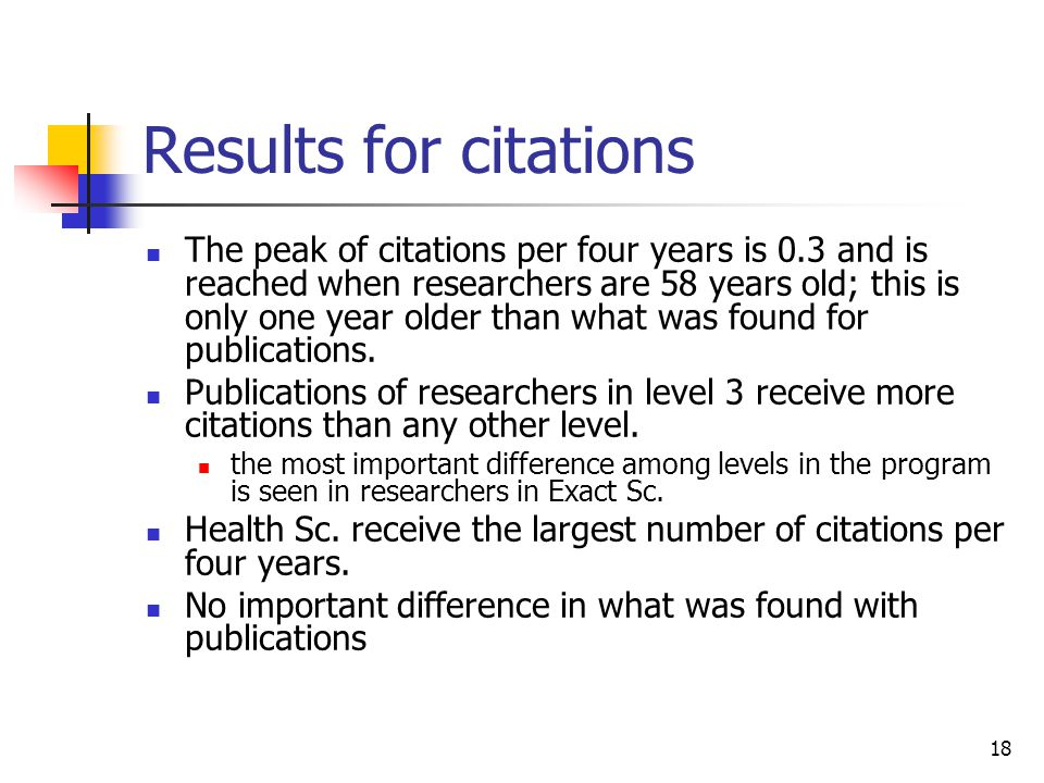 18 Results for citations The peak of citations per four years is 0.3 and is reached when researchers are 58 years old; this is only one year older tha