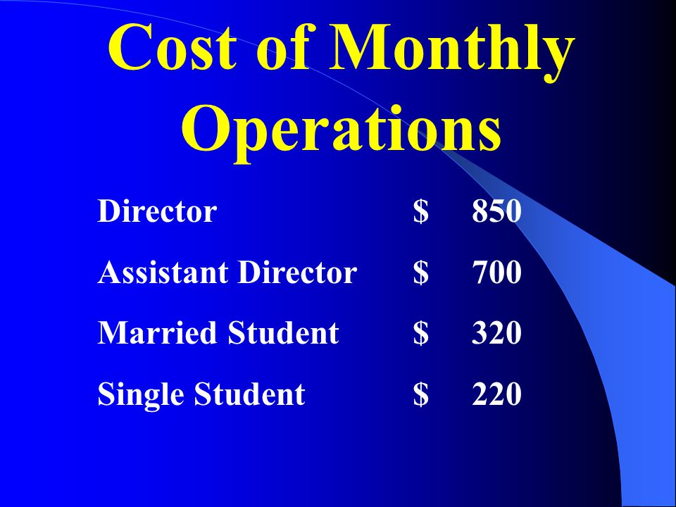 Cost of Monthly Operations $ 850 $ 700 $ 320 $ 220 Director Assistant Director Married Student Single Student