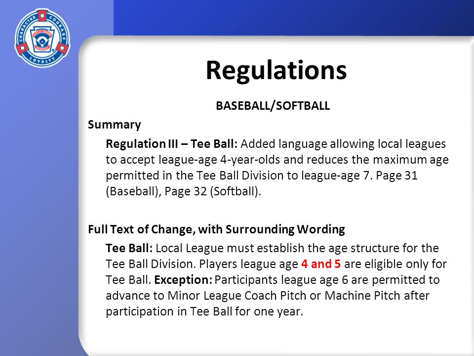 Tournament Rules and Guidelines BASEBALL/SOFTBALL Summary Rule 4 – Pitching Rules: Removed requirement for protests to be lodged before umpires leave the field and allows the Tournament Committee to take action even when there is no protest.
