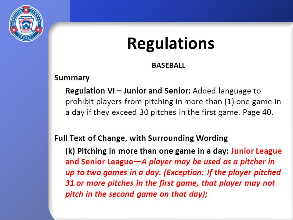 Playing Rules SOFTBALL Summary Rule 7.08 (a) (5) – Major Division: Added language allowing runners to leave the base when the pitcher releases the ball.