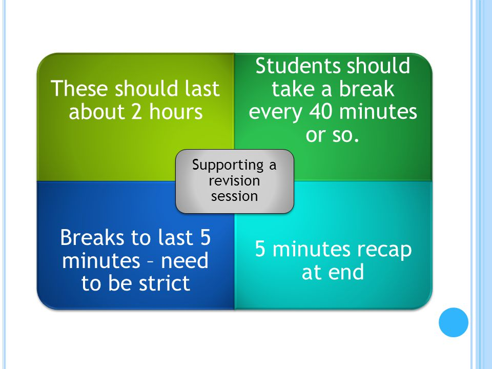 These should last about 2 hours Students should take a break every 40 minutes or so. Breaks to last 5 minutes – need to be strict 5 minutes recap at e