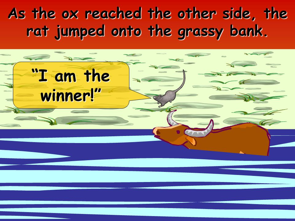 As the ox reached the other side, the rat jumped onto the grassy bank. I am the winner!