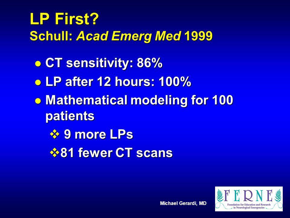 Michael Gerardi, MD LP First? Schull: Acad Emerg Med 1999 l CT sensitivity: 86% l LP after 12 hours: 100% l Mathematical modeling for 100 patients v 9