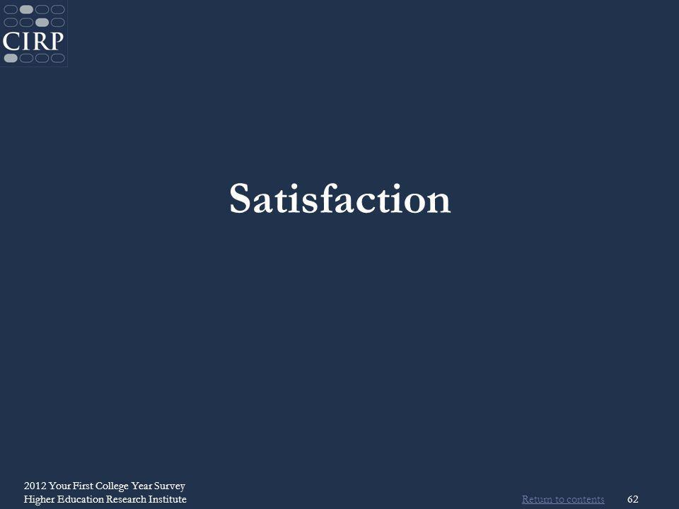 Return to contents 2012 Your First College Year Survey Higher Education Research Institute62 Satisfaction