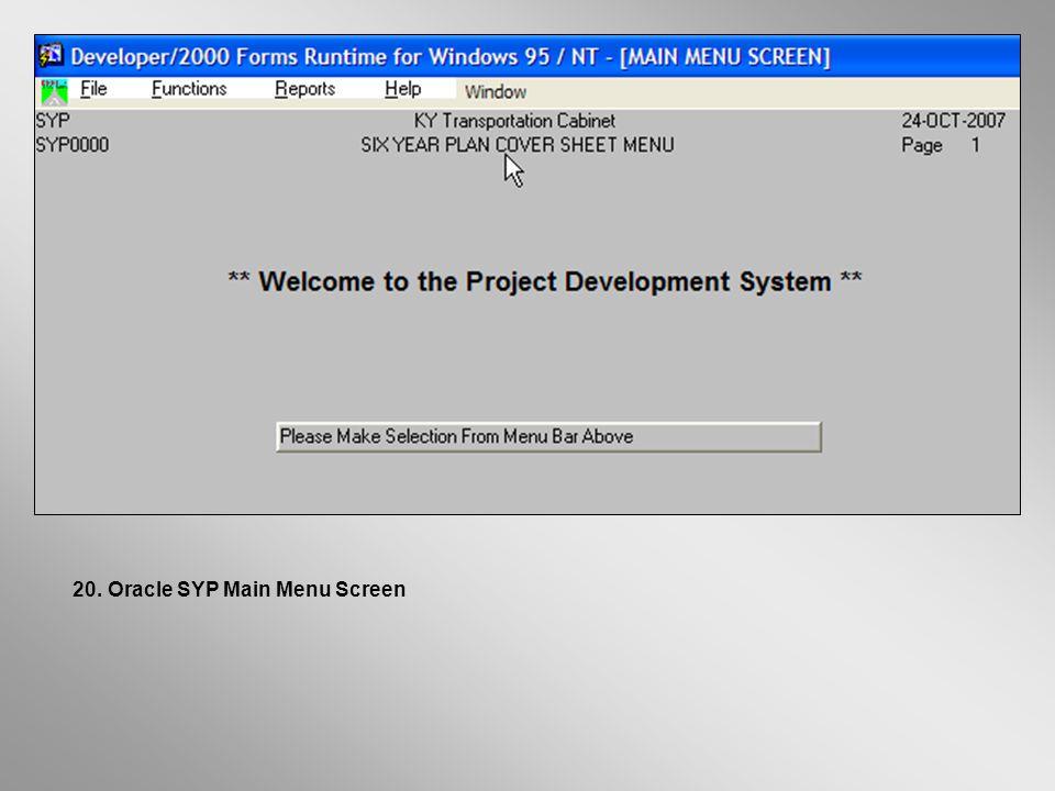 Oracle SYP Main Menu Screen20.