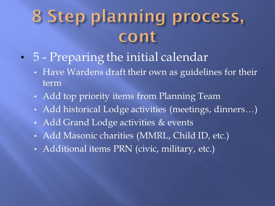 5 - Preparing the initial calendar Have Wardens draft their own as guidelines for their term Add top priority items from Planning Team Add historical Lodge activities (meetings, dinners…) Add Grand Lodge activities & events Add Masonic charities (MMRL, Child ID, etc.) Additional items PRN (civic, military, etc.)