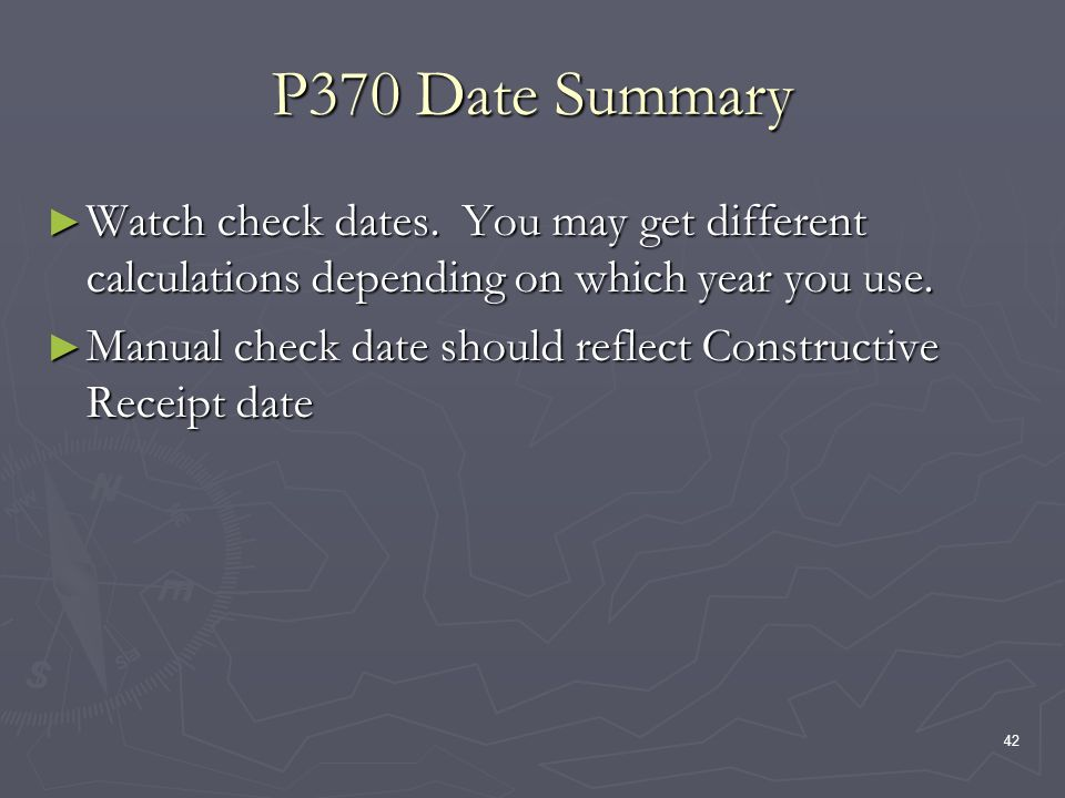 42 P370 Date Summary Watch check dates.
