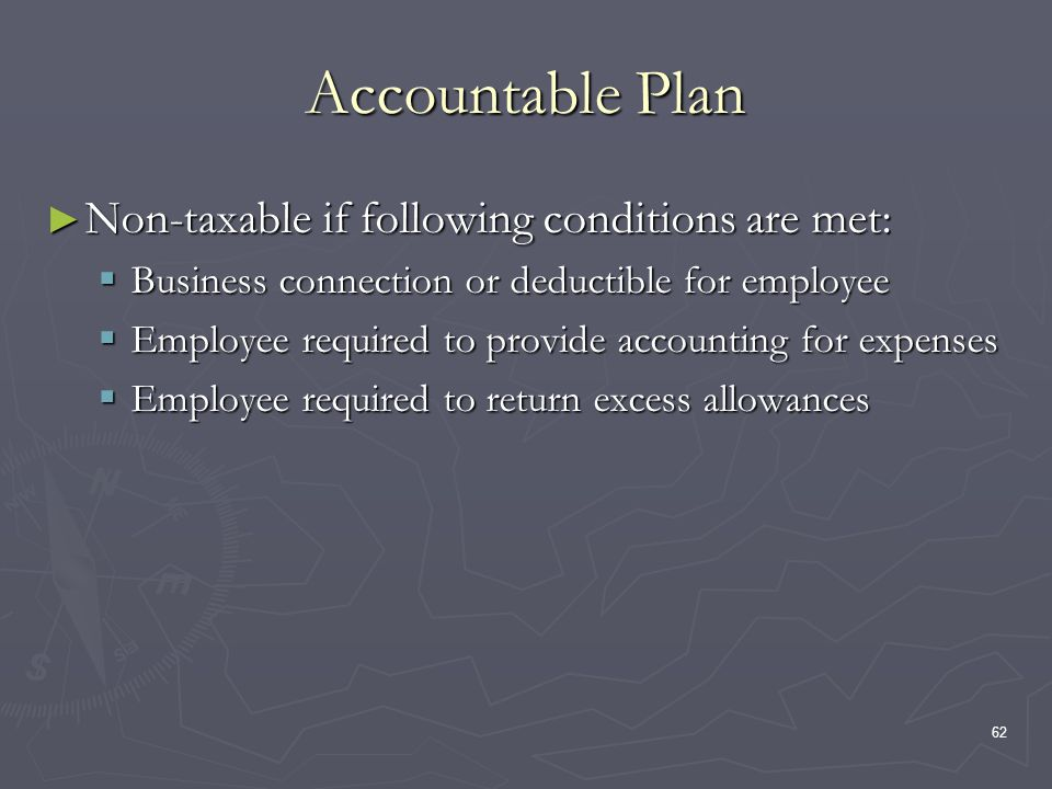 62 Accountable Plan Non-taxable if following conditions are met: Non-taxable if following conditions are met: Business connection or deductible for em