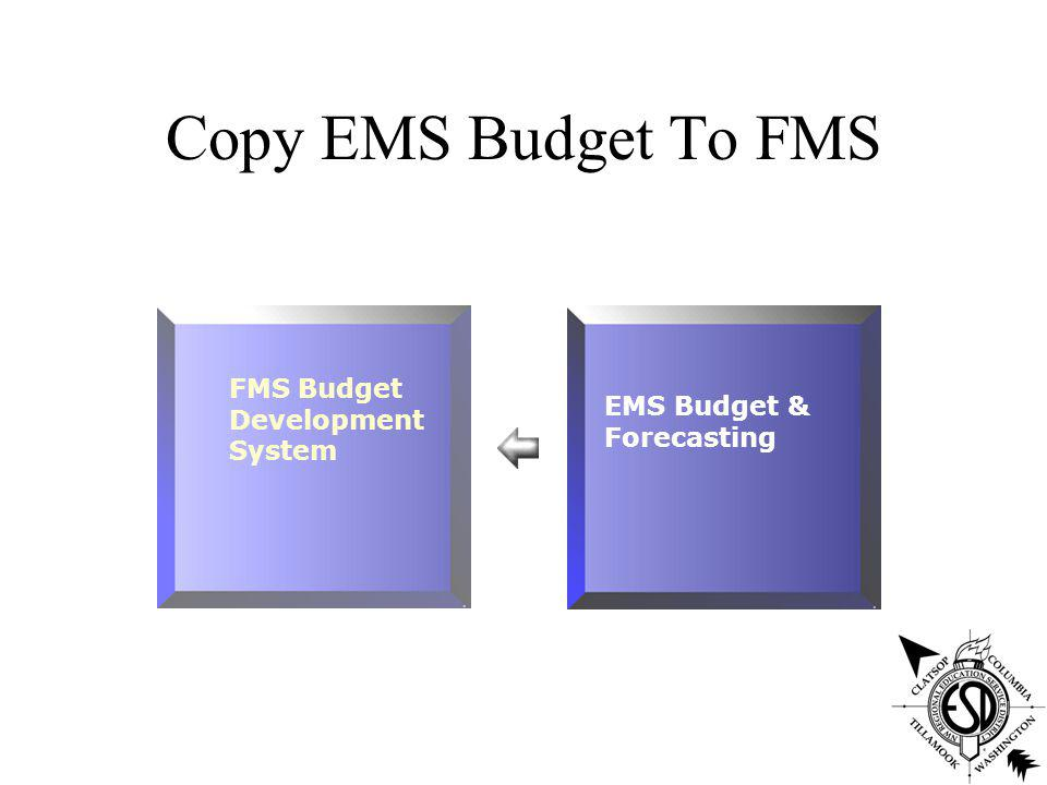EMS Budget Review Budget files copy of live files Pay tables modeled for anticipated salaries Vacancies added and budgeted FTE changes modeled Projection reports by employee, job, and account