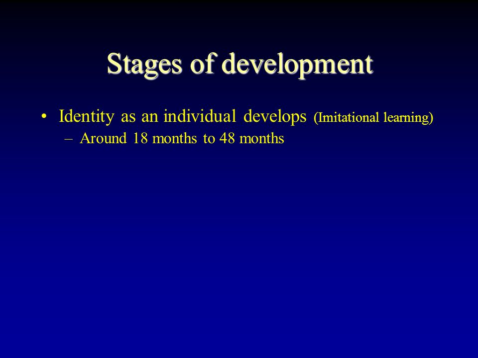 Stages of development Babies & Children grow in stages & phases Weaned from nursing, Toilet training –Learn to eat Solids: Self-Feeding Learning to walk, learning to talk Learning to be independent of mother –Testing separation & attachment: Security Leaving mother & attaching to father –Exploring the environment: Understands others