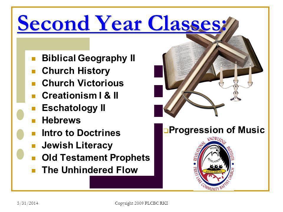 5/31/2014 Copyright 2009 PLCBC RKI Second Year Classes: Biblical Geography II Church History Church Victorious Creationism I & II Eschatology II Hebre