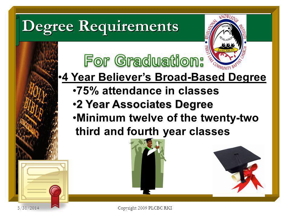 5/31/2014 Copyright 2009 PLCBC RKI Degree Requirements 4 Year Believers Broad-Based Degree 75% attendance in classes 2 Year Associates Degree2 Year Associates Degree Minimum twelve of the twenty-two third and fourth year classes