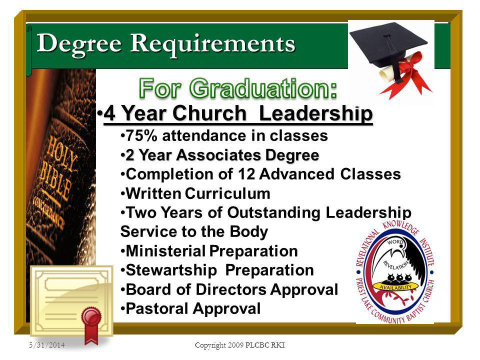 5/31/2014 Copyright 2009 PLCBC RKI Degree Requirements 4 Year Church Leadership4 Year Church Leadership 75% attendance in classes 2 Year Associates De