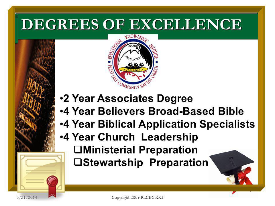 5/31/2014 Copyright 2009 PLCBC RKI DEGREES OF EXCELLENCE 2 Year Associates Degree 4 Year Believers Broad-Based Bible 4 Year Biblical Application Speci