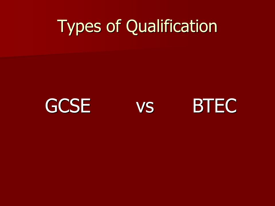Types of Qualification GCSEBTECvs