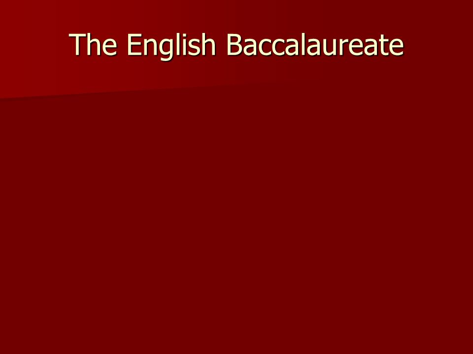The English Baccalaureate