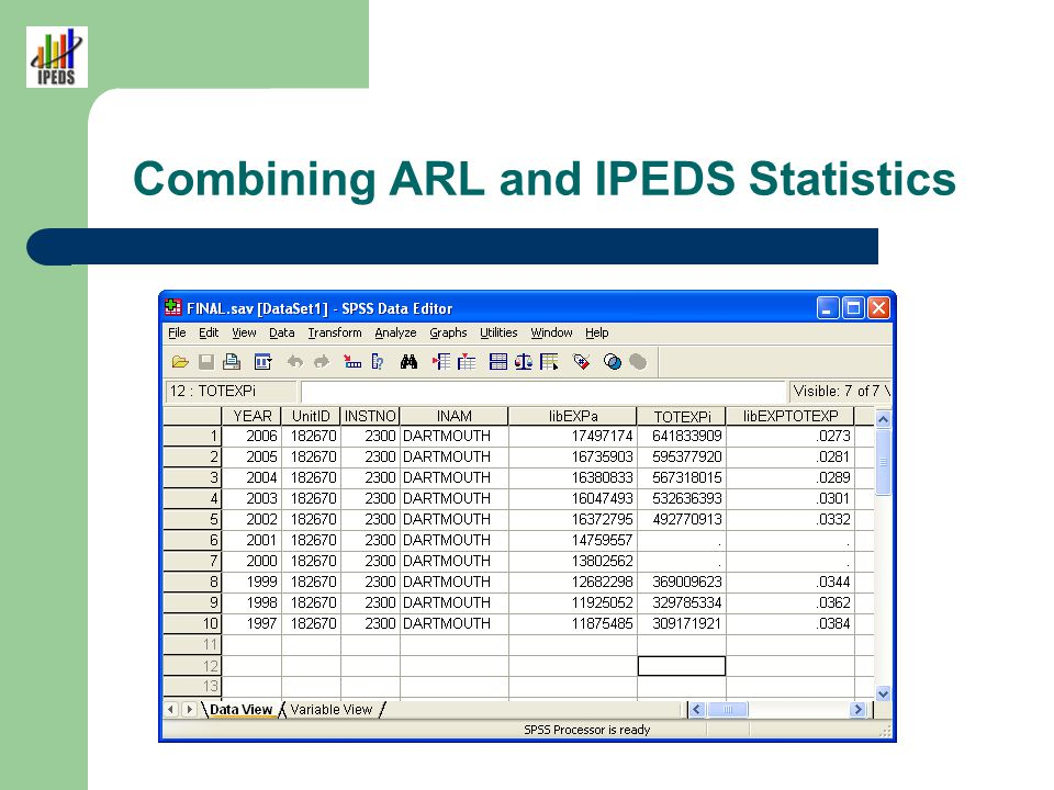 Combining ARL and IPEDS Statistics