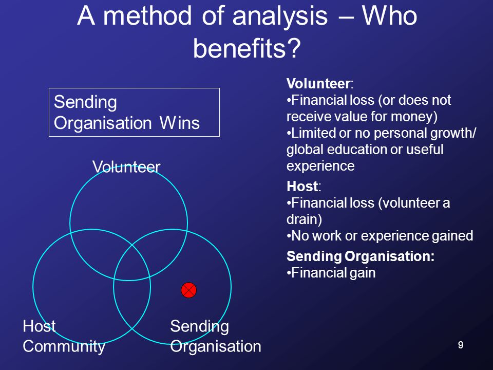 9 A method of analysis – Who benefits.