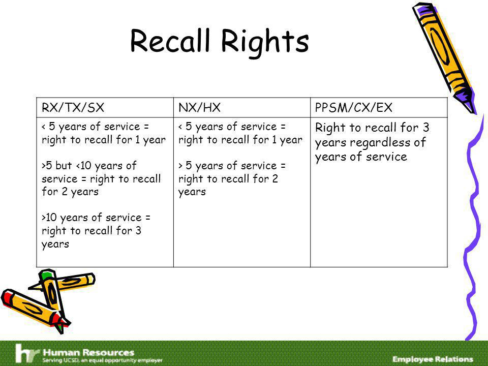 Recall Rights RX/TX/SXNX/HXPPSM/CX/EX < 5 years of service = right to recall for 1 year >5 but <10 years of service = right to recall for 2 years >10 years of service = right to recall for 3 years < 5 years of service = right to recall for 1 year > 5 years of service = right to recall for 2 years Right to recall for 3 years regardless of years of service
