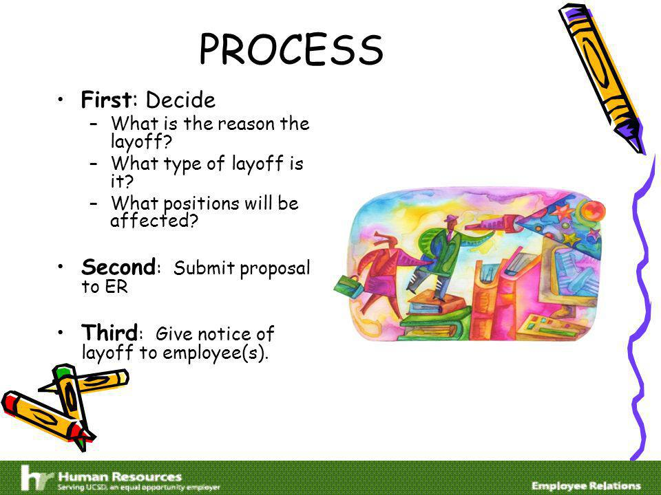 PROCESS First: Decide –What is the reason the layoff.