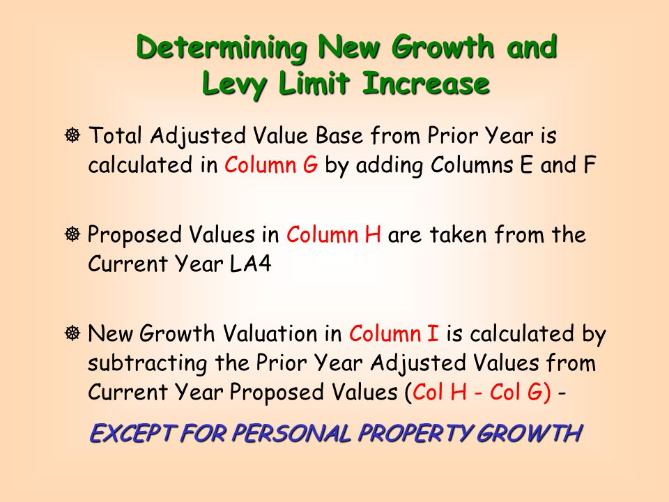 Column F - Revaluation or Interim Year Adjustments ]Apply aggregate % change due to Revaluation or Interim Year Adjustment (derived by sampling) to Column E ]If actual value or % changes are known by generating a series of LA-4 reports, record percent (%) changes in Column F ]If actual growth is known by parcel listing (Column I), work backwards to compute Column F values and %