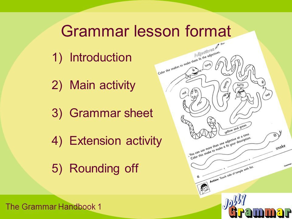 Grammar lesson format 1) Introduction 2) Main activity 3) Grammar sheet 4) Extension activity 5) Rounding off The Grammar Handbook 1