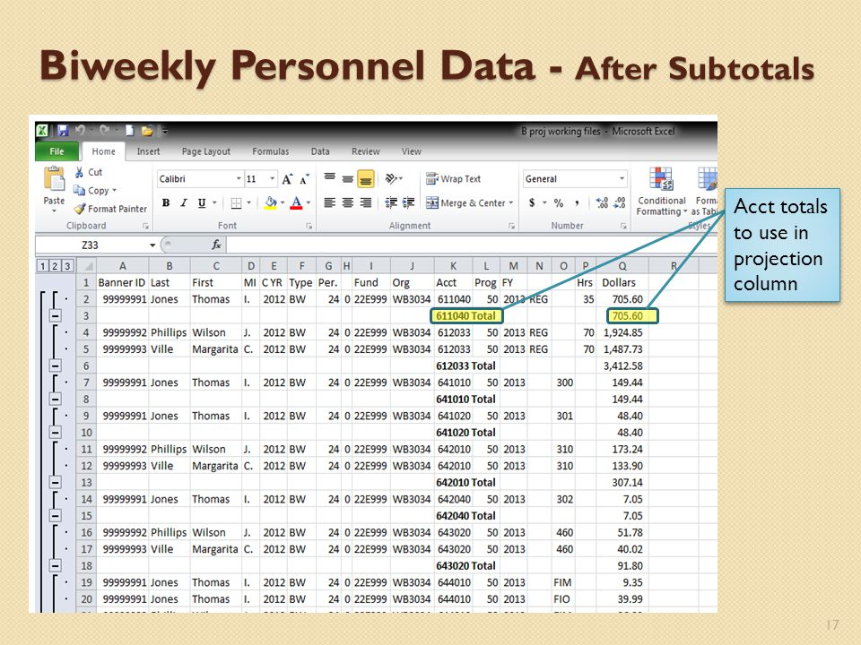 Biweekly Personnel Data - After Subtotals 17 Acct totals to use in projection column