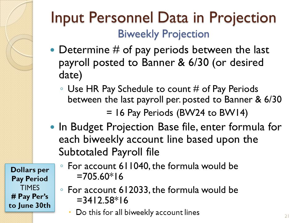 Input Personnel Data in Projection Biweekly Projection Determine # of pay periods between the last payroll posted to Banner & 6/30 (or desired date) Use HR Pay Schedule to count # of Pay Periods between the last payroll per.