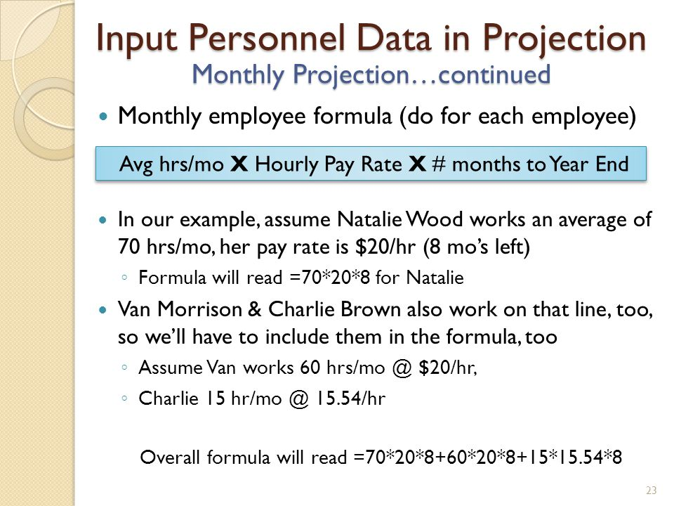 Monthly employee formula (do for each employee) In our example, assume Natalie Wood works an average of 70 hrs/mo, her pay rate is $20/hr (8 mos left) Formula will read =70*20*8 for Natalie Van Morrison & Charlie Brown also work on that line, too, so well have to include them in the formula, too Assume Van works 60 hrs/mo @ $20/hr, Charlie 15 hr/mo @ 15.54/hr Overall formula will read =70*20*8+60*20*8+15*15.54*8 23 Input Personnel Data in Projection Monthly Projection…continued Avg hrs/mo X Hourly Pay Rate X # months to Year End