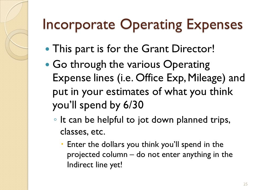 Indirect Cost Expense This can be tough to calculate, so dont hesitate to ask for help on this one.