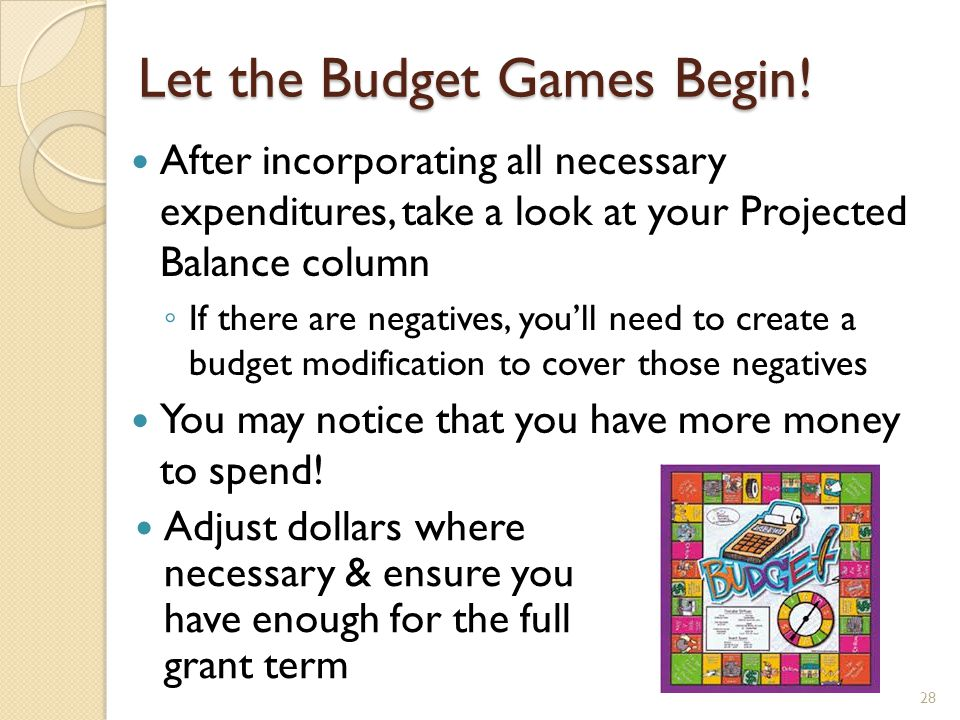 Summary of Projection Steps Export current budget detail from FRIGITD to excel to create projection base file Add titles to columns & create Projection columns Determine last pay period # posted to Banner – calculate # pay periods to year end Export most recently paid biweekly payroll Subtotal the expenses by account number Determine monthly employees rates & average hours Input payroll formulas into projected column Input projected operating expenses to year end Input Indirect Rate formula (if applicable) Adjust lines as necessary 29