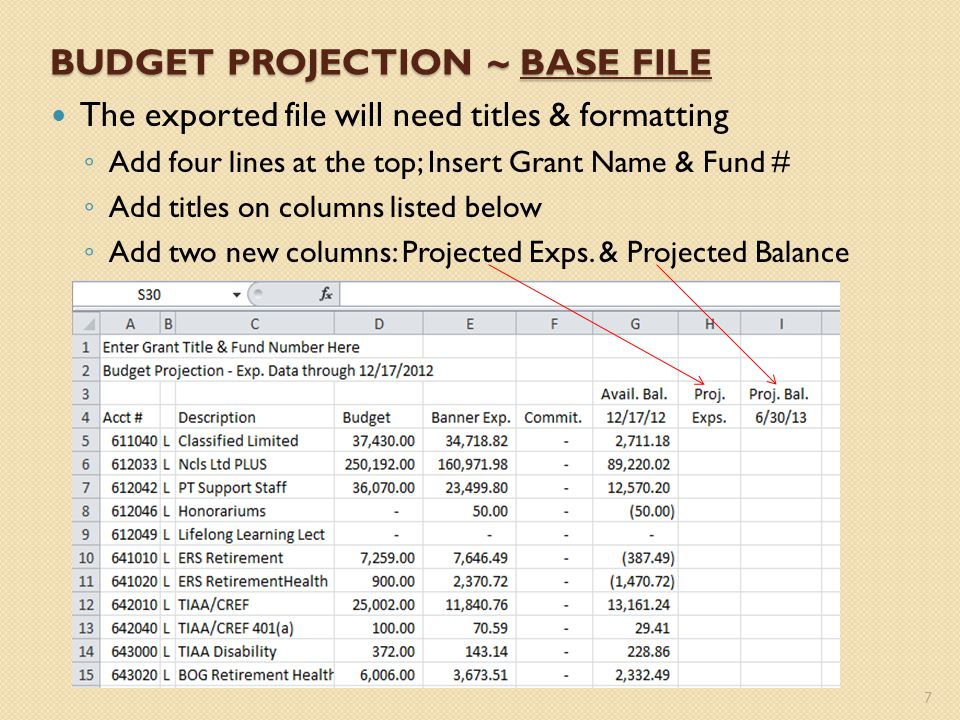 Format columns D thru I with comma style Adjust the column widths of columns B thru I 8 BUDGET PROJECTION ~ BASE FILE