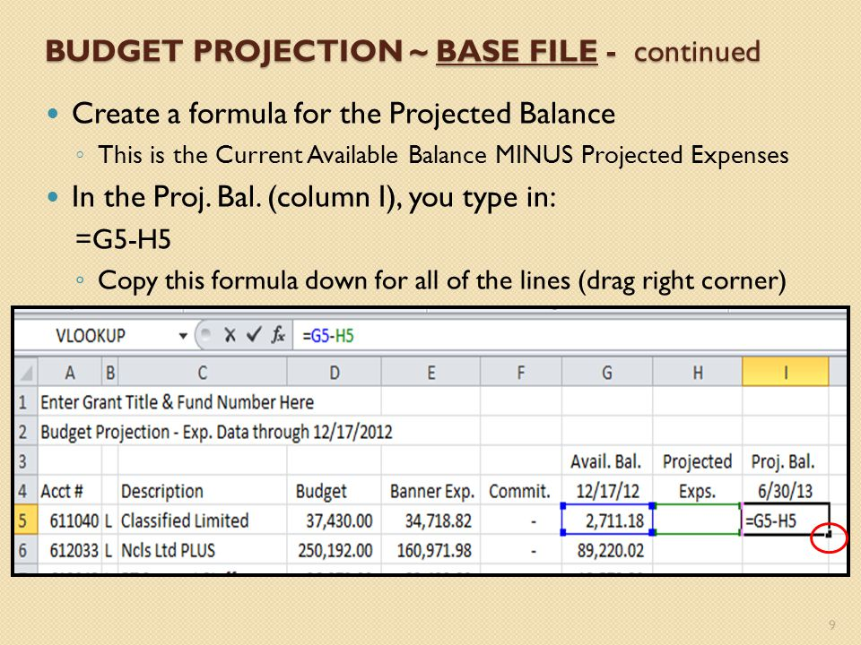 BUDGET PROJECTION ~ BASE FILE - continued Create a formula for the Projected Balance This is the Current Available Balance MINUS Projected Expenses In the Proj.