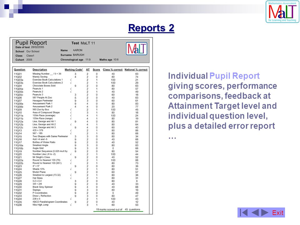 Reports 2 Individual Pupil Report giving scores, performance comparisons, feedback at Attainment Target level and individual question level, plus a de