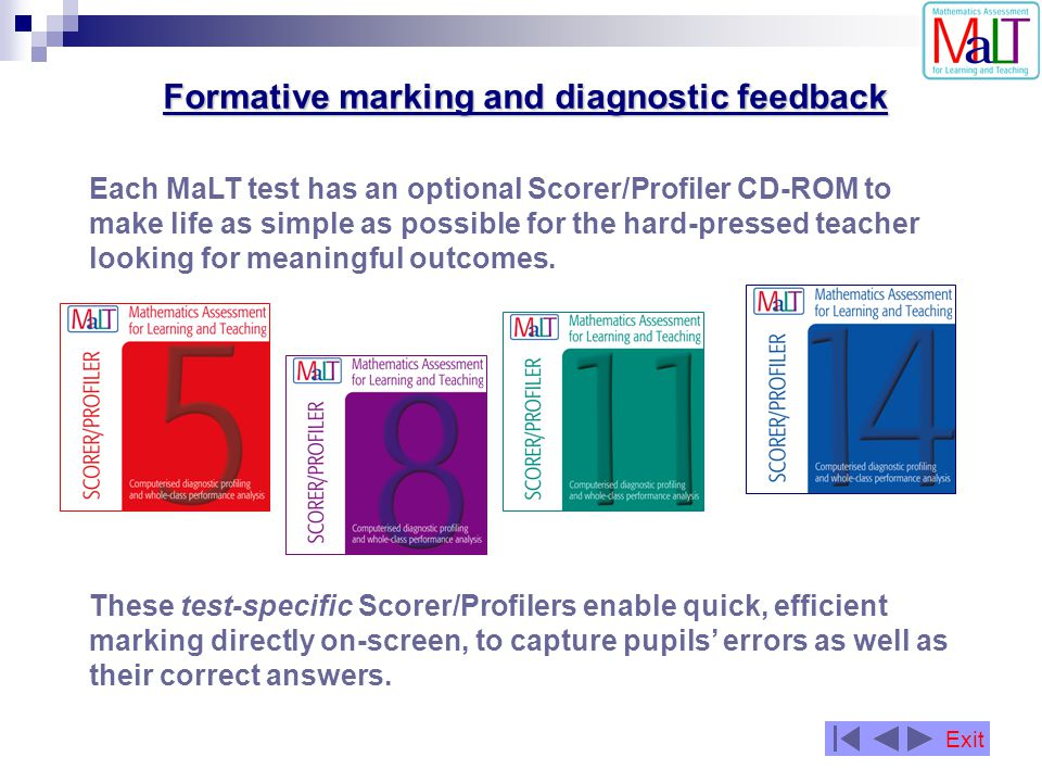 Each MaLT test has an optional Scorer/Profiler CD-ROM to make life as simple as possible for the hard-pressed teacher looking for meaningful outcomes.